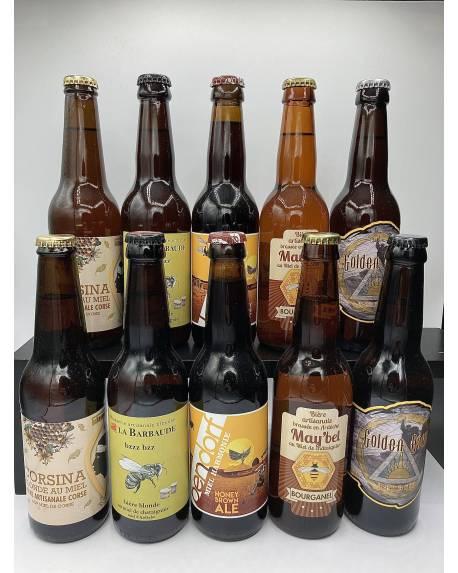 COFFRET BIERES ARTISANALES AU MIEL 10 bières + 1 verre Coffrets découvertes